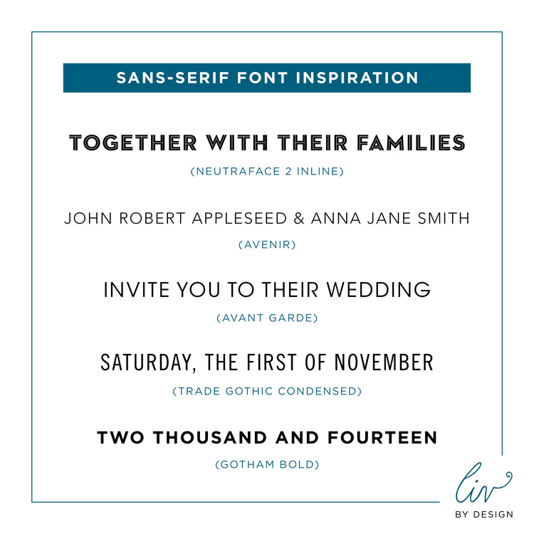 Custom Fonts - Wedding Invitations - Liv By Design Events
